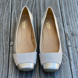 Silver Stud Detail Square Toe Comfort Casual Flats